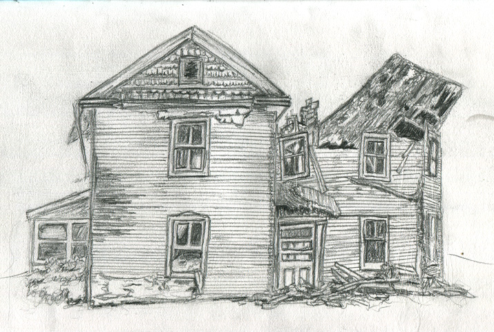 Drawing  Old Houses http://theb-roll.com/drawing-054-old-broken-down-house/